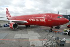 """Air Greenland Airbus A330-223 OY-GRN """"Norsaq"""" at Copenhagen-Kastrup, April 2011. The pilot appears to be performing a pre-flight rudder check. (Photo via Flickr: Aero Icarus)"""