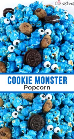 Yummy and adorable Cookie Monster Popcorn - sweet and salty popcorn mixed with mini cookies and googly monster eyes. Birthday Party Snacks, Monster Birthday Parties, Snacks Für Party, Birthday Cookies, 2nd Birthday, Party Party, Birthday Recipes, Monster Birthday Cakes, Birthday Ideas