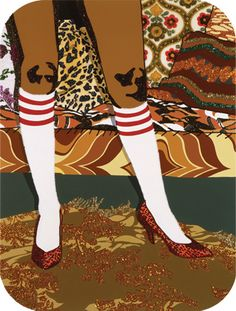 "Mickalene Thomas ""Lil's Legs"" acrylic and rhinestones. LOVE her work!"