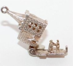 Vintage Sterling Silver Bracelet Charm Church Opening To Bride Groom Wedding