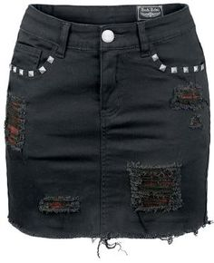 """Five pocket Rock Rebel mini skirt by EMP in vintage style:    - destroyed effects that are backed by plaid  - silicone embossing on the back pocket  - rivets at the front pockets and the rear belt loops    This skirt is the best choice for a sexy rocker chick! Because the creative design of the black Rock Rebel """"Destroyed Mini"""" jeans by EMP have a distinct look due to its rivets and silicone embossing. There are also strong destroyed-effects that are backed by plaid, just to be sure..."""