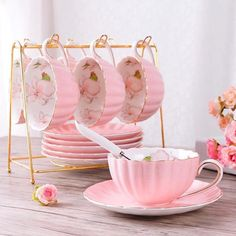 British High-Grade Bone China Coffee Cup Set, You are able to enjoy breakfast or different time times applying tea cups. Tea cups also provide decorative features. Whenever you go through the tea cup models, you will dsicover this clearly. Coffee Cup Set, Tea Cup Set, Cup And Saucer Set, Tea Cup Saucer, Pink Coffee Cups, Pink Tea Cups, Fine China Dinnerware, Vintage Dinnerware, Bone China Tea Cups
