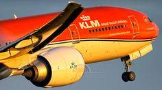 "KLM Royal Dutch Airlines  Boeing 777-306ER (registered PH-BVA) in ""Orange Pride"" livery."