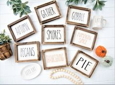 Rae Dunn Inspired Fall Signs-Thanksgiving Signs-Seasonal Sign-Framed Wood Sign-S'mores-Autumn-Pie-Pecan-Pumpkin Spice-Gather-Gobble Rae Dunn Inspired Fall Signs-Thanksgiving Signs-Seasonal Sign-Framed Wood Sign-S'mores-Autumn-Pie-Pe Fall Wood Signs, Wood Signs For Home, Rustic Wood Signs, Fall Signs, Wooden Signs, Rustic Decor, Thanksgiving Signs, Thanksgiving Decorations, Holiday Signs