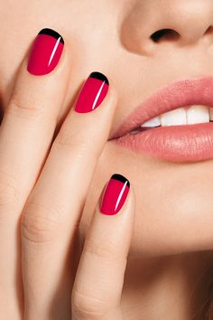hot pink black stripe french tip nail polish