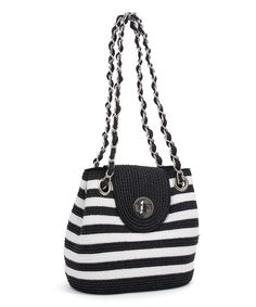 Look at this White & Black Stripe Shoulder Bag on #zulily today!