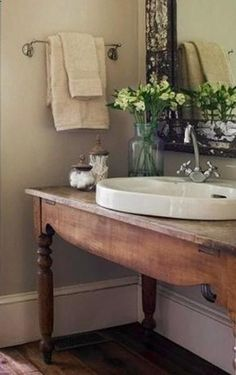 antique table converted into a sink @ Interior Design Ideas cute for powder room Serene Bathroom, Bathroom Design Small, Beautiful Bathrooms, Bathroom Pink, Mirror Bathroom, Downstairs Bathroom, Bathroom Designs, Bathroom Table, Bath Table