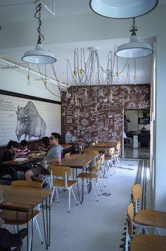 Bagvæg: grøn eller sort tavlekridt, folk kan skrive/tegne etc