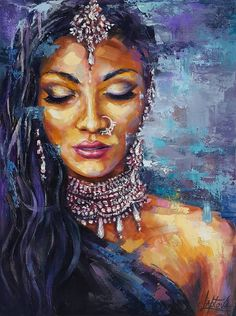 Portrait Acrylic, Portrait Art, Female Portrait, Female Art, Dance Paintings, House Paintings, Indian Women Painting, Goddess Art, Black Women Art