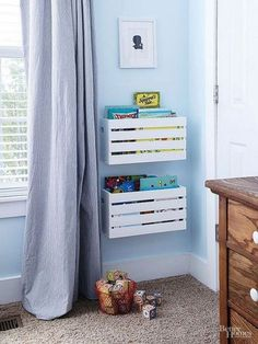 Low-Cost Library Related posts:Best Charming Kid's Room Decor Ideas www.Black and White Modern Kids Room - Bright Green DoorLincoln's Big Boy Room - J & J Design Group Diy Casa, Kids Storage, Storage Units, Storage Solutions, Storage Crates, Playroom Storage, Storage For Toys, Kid Book Storage, Clothes Storage