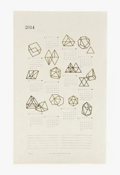 2014 Prisms Calendar - letterpress + gold foil on recycled speckletone paper <3 $33