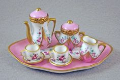 NEW LIMOGES BOX FRENCH LIMOGES TEA COFFEE SET 2 LIMOGES BOXES 5 MINIATURES TRAY #LimogeshingedBoxes