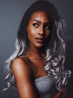 silver hair color for dark skin