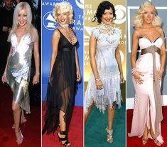 Christina Aguilera:  2000: Versace 2002: Madame Gres 2004: Versace 2007: Emanuel Ungaro