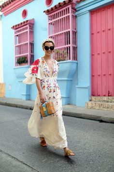 Whimsical Style Bright Colors Colourful Bold Happy Fashion Eclectic Style Inspiration Personal Style Online Fashion For Working Moms & Mompreneurs Whimsical Fashion, Boho Fashion, Fashion Beauty, Womens Fashion, Fashion Trends, Red Floral Dress, Floral Maxi, Floral Dresses, Spring Summer Fashion