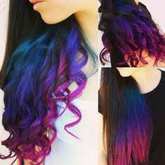 Purple Pastel Ombre Hair Colorful ombre hair colors to Purple Ombre, Ombre Hair Color, Cool Hair Color, Purple Hair, Peacock Hair Color, Galaxy Hair Color, Pink Blue, Dip Dye Hair, Dye My Hair