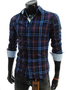(JCS043-NAVY) Casual Slim Fit Checker Shirts