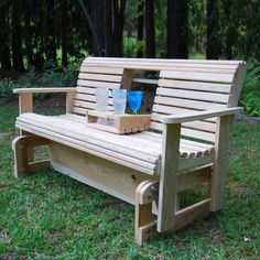 LA Cypress Swings CGF5 Flip Cup Holder Glider Bench | ATG Stores