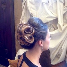 Bridal hair, on Montana bride with golden curls.