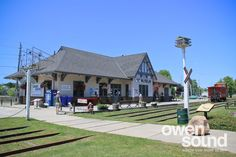 Historic CN Rail Station converted to Owen Sound Visitor Centre and Marine and Rail Museum on the Owen Sound harbourfront. Ontario, Centre, Museum, Grey, Places, Outdoor Decor, Gray, Repose Gray, Museums