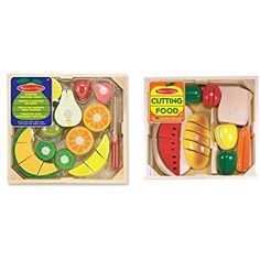 Buy Melissa & Doug Cutting Food - Play Food Set With Hand-Painted Wooden Pieces, Knife, and Cutting Board With Melissa & Doug Cutting Fruit Set - Wooden Play Food Kitchen Accessory Wooden Play Food, Play Food Set, Melissa & Doug, Fruit Recipes, Pretend Play, Recipe Box, Kitchen Accessories, Cutting Board, Food Box