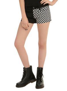 Royal Bones By Tripp Checkered Split Leg Shorts