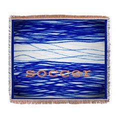 Sports Blue Soccer Woven Blanket