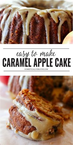 this one uses apples & apple sauce. going to try 1 21 19 Delicious, easy apple bundt cake topped with a perfect caramel glaze. Apple Cake Recipes, Apple Desserts, Delicious Desserts, Dessert Recipes, Fall Cakes, Fall Baking, Cake Toppings, Savoury Cake, Caramel Apples