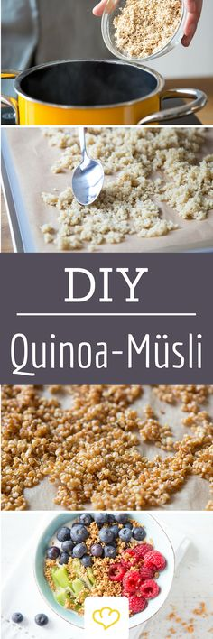 Quinoa muesli very easy to make yourself! Free of gluten, but packed with taste and a fine roasted aroma! The great thing: Quinoa crispies are cooked in no time at all, baked in no time. All you need is quinoa, water, a saucepan and a baking sheet. Mexican Breakfast Recipes, Low Carb Breakfast, Mexican Food Recipes, Quinoa Breakfast, Muesli, Puffed Quinoa, Healthy Snacks, Healthy Recipes, How To Cook Quinoa