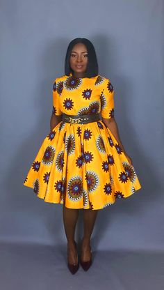 Valerie flared dress is a African print and fit flare dress that is flattering on a variety of figures. Try this short sleeve, yellow version on hot Ankara for size! The dress is bent through the bust and sleeves, and flares in a full circle - Short African Dresses, Latest African Fashion Dresses, African Print Dresses, African Dress Patterns, African American Fashion, African Inspired Fashion, African Print Fashion, African Attire, African Wear