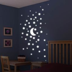 Fun Kid's Space Themed Bedroom Design Ideas. Find and save ideas about Space theme bedroom in this article. Boys Space Bedroom, Outer Space Bedroom, Outer Space Theme, Boy Room, Room Baby, Room Kids, Wall Stickers Stars, Nursery Wall Stickers, Wall Decals