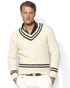 Polo Ralph Lauren Long-Sleeved Cabled Cotton V-Neck Cricket Sweater