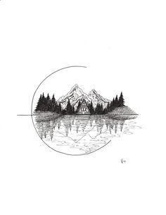 This listing is for one Cozy Cabin art print. This print was created with ink pens and scanned and printed onto Epson Ultra Premium Presentation Matte Paper using Hi-Definition ink.Cozy Cabin- A-frame in Nature Wall Art Print Natur Tattoos, Kunst Tattoos, Oroboros Tattoo, Art Drawings Sketches, Tattoo Drawings, Sketches Of Nature, Tattoo Art, Easy Nature Drawings, Tattoo Sketch Art