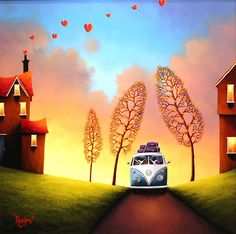 'Love is a Journey' Original Oil painting on board by artist David Renshaw from his Northern Romance Collection. Featuring Ted and Dorris in their volkswagen camper van!    Available at Wyecliffe Galleries:  http://wyecliffe.com/collections/david-renshaw-original-art/products/love-journey-david-renshaw   #wyecliffe
