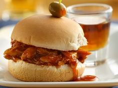Whiskey and Beer BBQ Chicken Sliders Recipe from Betty Crocker