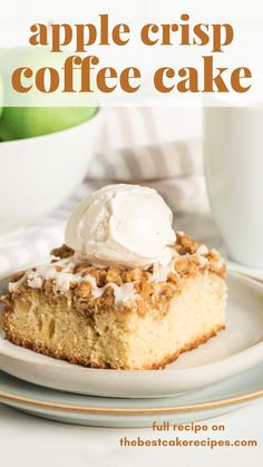 Two classic desserts…in one! Apple Crisp Coffee Cake is stuffed with apples, topped with a brown sugar oatmeal streusel and an apple cider glaze. Breakfast or dessert…you choose. Apple Cake Recipes, Homemade Cake Recipes, Best Cake Recipes, Cupcake Recipes, Cupcake Cakes, Dessert Recipes, Cupcakes, Favorite Recipes, Delicious Breakfast Recipes