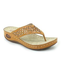Camel Geo-Cutout Sandal