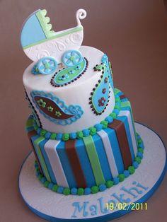 Paisley Baby Shower Cake — Baby Shower