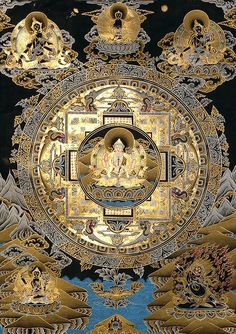 Chenrezig Mandala (Esoteric Black Thangka)