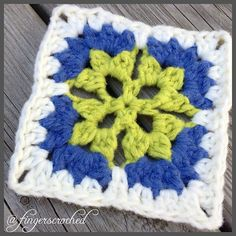 Ravelry: Pick A Flower square pattern by Fingers Croched Crochet Square Patterns, Crochet Blocks, Crochet Squares, Crochet Stitches, Granny Squares, Crochet Ripple Blanket, Crochet Granny, Flower Granny Square, Crochet Flowers