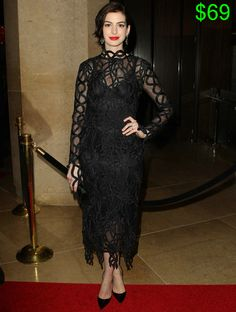 Anne Hathaway in Sexy Rope-Lace Dress and Christian Louboutin So Kate Pumps