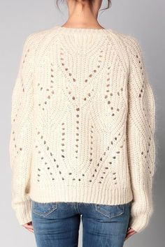 Eyelet details and rib shaping -- designer unknown Knitwear Fashion, Knit Fashion, Sweater Fashion, Knitting Designs, Knitting Stitches, Chunky Knitwear, Pullover Mode, Rico Design, How To Purl Knit