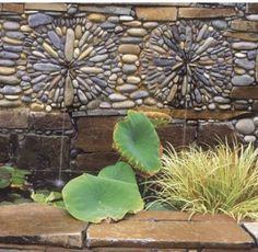 Pebble mosaic fountains (with tutorial for pebble mosaic pathways)