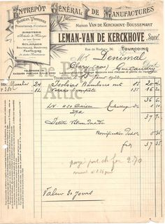 Antique Vtg French Porcelain Crystal Invoice Document Nice Graphics & Typography