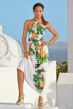 Boston Proper - Tropical print necklace maxi dress