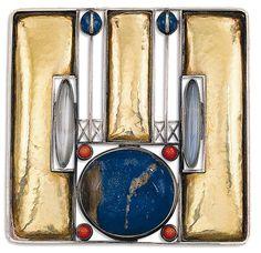 Joseph Hoffmann (1870-1956) - For Wiener Werkstätte - Brooch. Gold & Silver with Lapis Lazuli, Coral & Moonstone. Circa 1905. 5cm x 5.1cm.