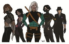 [Titans Dark, by TBranch] Left to Right: Rose Wilson aka Ravager, Cassandra Cain aka Black Bat, Scandal Savage, Raven, Renee Montoya aka The Question >>>> A team of some of my favorite badass DC ladies, dubbed Titans Dark. They take on the stickier tasks that the normal Titans wouldn't bother getting their hands dirty with, like dealing with international terrorists.
