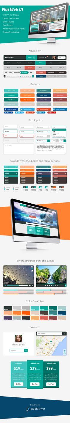 Beautiful flat web ui kit http://graphicriver.net/item/flat-web-ui/5452695?ref=graphicdesignjunction