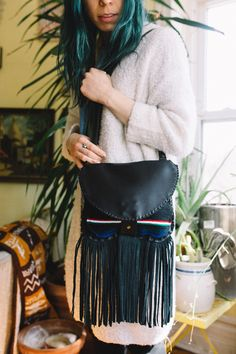 Leather + Oaxaca Textile Debbie Satchel Bag handcrafted by Bird Trouble. Sustainable fashion made in Chicago.