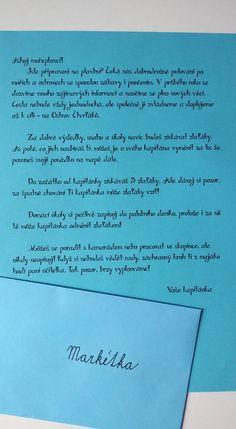 Úvodní dopis pro každého žáka, který dostane první školní den.